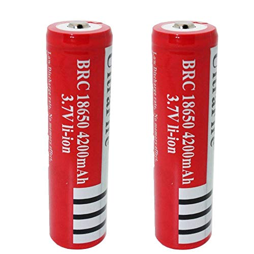 Bateria 18650 Pilas Recargables Bateria 18650 4200mAh 3.7V BRC Litio Li-Ion 1200Ciclos Recargable 18650 Bateria para Linterna LED del Faro de la Antorcha, 66 * 18mm, Rojo (2 Piezas)