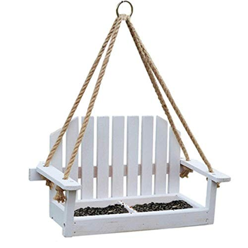 SHJMANPA Transparent Bird Feeder House Design Hanging Decoration Bird Table Easy Cleaning for Outdoors Traditional Wooden Weatherproof, White, Free size