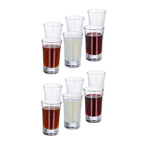 Relaxdays 12er Set Schnapsgläser, aus Glas, 4 cl, Tequila, Vodka, Kaffee, Party, Shots, spülmaschinenfest, transparent
