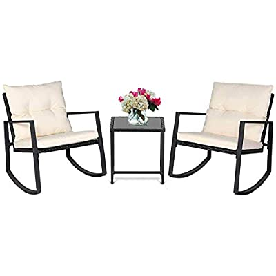 Incbruce Outdoor Indoor 3Pcs Patio Furniture Rocking Chair Set, All-Weather Wicker Bistro Sets with Cushions and Tempered Glass Coffee Table (Black/Beige)