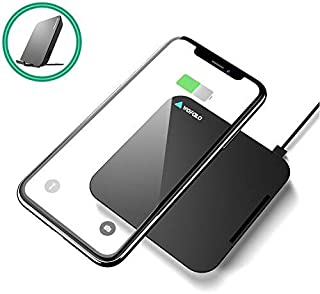 Wofalodata Fast Wireless Charger Pad with Stand Wireless Charging Pad for iPhone Xs XR XS MAX/9/8/8 Plus Galaxy Note S9/S9/8/5 S8/S8 Plus S7/S7 Edge S6 Edge (No AC Adapter)