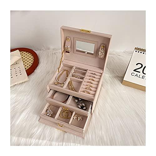 Titular de collar Caja de joyería de la joyería de la joyería de viajes portátiles de la PU de 3 capas Caja de joyería de la exhibición de la PU con la caja de la joyería de bloqueo y espejo para anil
