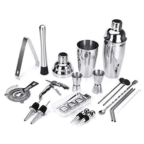 PN-Braes Juego de 22 herramientas de cóctel para mezclar el alcohol, herramientas de coctelería y coctelería