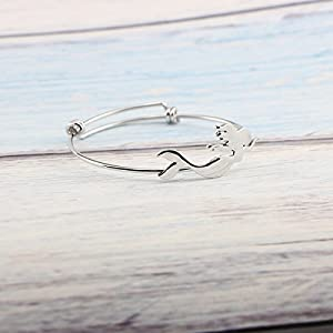 Yiyang Mermaid Bangle Bracelet for Women Expandable Wire Unique Animal Jewellery Gift for Friendship Family (Silver Mermaid)