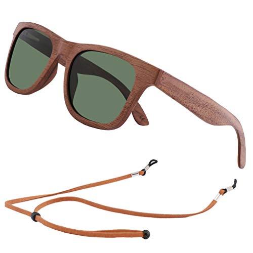 Gafas de sol de Madera Bambú, Gafas de sol Polarizadas Hombre Mujer Vintage Espejo Marca (Lente Verde G15)