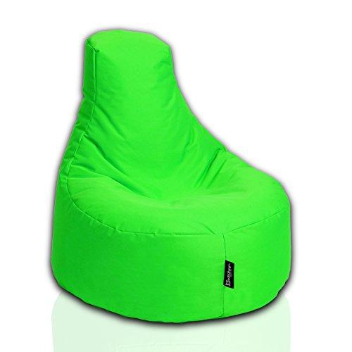 BuBiBag Sitzsack Gamer Playstation Sessel Lounge Kissen original Sitzkissen für In & Outdoor geeignet fertig befüllt mit EPS Styroporfüllung in 31 Farben erhältlich (80cm Durchmesser,Neongrün)