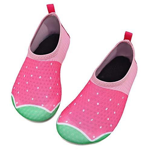 Deevike Badeschuhe Kinder Wasserschuhe Schwimmschuhe rutschfeste Schnell Trocknend Strandschuhe für Mädchen Jungen Erdbeere 24/25