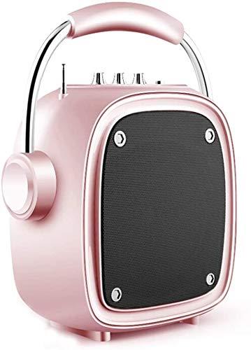 Mopoq Drahtlose Bluetooth-Lautsprecher - bewegliche kleine Außen-Player-Miniübergewicht Subwoofer / 16X10X25.5cm Lautsprecher (Color : Rosa)