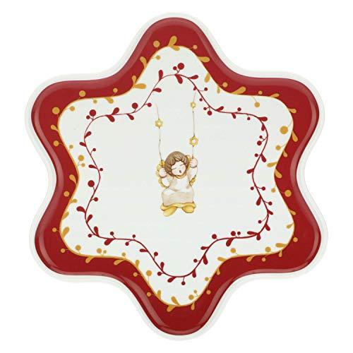 THUN  - Piatto Piano a Forma di Stella - Linea Dolce Natale Multiuso Grande, in Porcellana - Ø