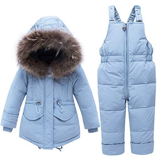 Baby Mädchen Winter Daunenjacke Ski Latzhose Overall Jungen Schneeanzug mit Kapuze Kleidungsset 2 Stücke Skianzug Blau 4-5 Jahre