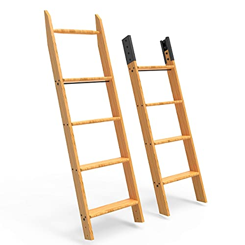 Red Oak Wood Sliding Library Ladder with Step Rolling Ladder 9'
