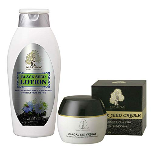 Madina Firming Skincare Bundle with Black Seed Face Cream and Body Lotion