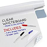 "Kassa Clear Dry Erase Board Sticker - 17.3' x 78"" (6.5 Feet) - 3 Dry-Erase Markers Included - Transparent Adhesive White Board Film for Refrigerator, Desk, Office - Glass Dry Erase Board Alternative"
