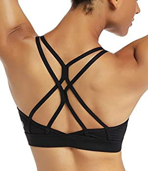 RUNNING GIRL Strappy Sports Bra for Women Sexy Crisscross Back Light Support Yoga Bra with Removable Cups  Black CN XL/US L【Fit for 36D 36C 38B 38A】 l