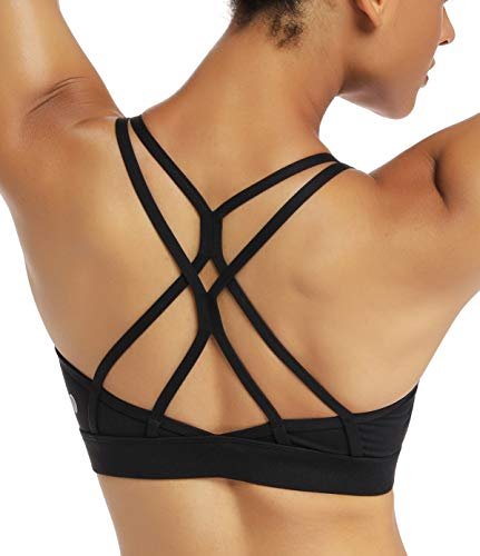 RUNNING GIRL Strappy Sports Bra for Women Sexy Crisscross Back Light Support Yoga Bra with Removable Cups(WX2310.Black.L)