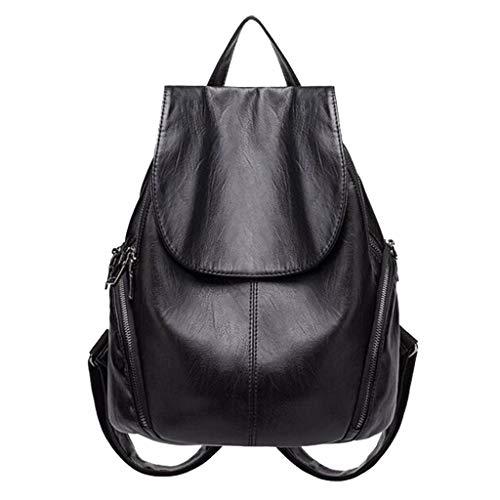 Casual rugzak leer voor vrouwen, meisjes Fashion Black rugzakken handtas klassieke school dagrugzak reizen shoppen lichte satchel