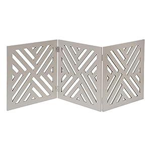 HOME DISTRICT Freestanding Pet Gate Real Wood 3-Panel Tri Fold Folding Dog Fence – Gray Lattice Design, 47″ x 19″