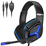 Gaming Headset Xbox Headset with Mic 3D Surround Sound Stereo, Noise Immunity Swivel Mic & LED Light, Suspension Headband PS4 VR Headphone Compatible with PC PS5 Xbox One Nintendo Switch MAC (Blue)