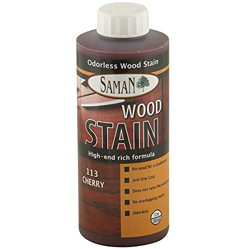 SamaN Interior Water Based Wood Stain & Natural Furniture, moldings, Wood Paneling and cabinets Stain (Cherry TEW-113-12, 12 oz)