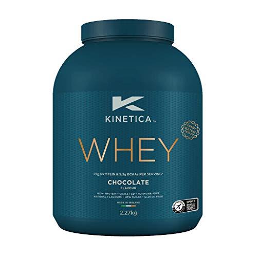 Kinetica Whey Protein in polvere, 76 dosi, Cioccolato, 2.27 kg. Basso contenuto di carboidrati, siero proveniente da allevamento al pascolo