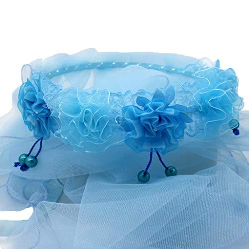 Lisanl Serre-tête une couche de tulle pour mariée - Pour enfants et filles - Guirlande de fleurs - Couronne de fleurs - Couleur unie - Pompon perlé - 5 couleurs