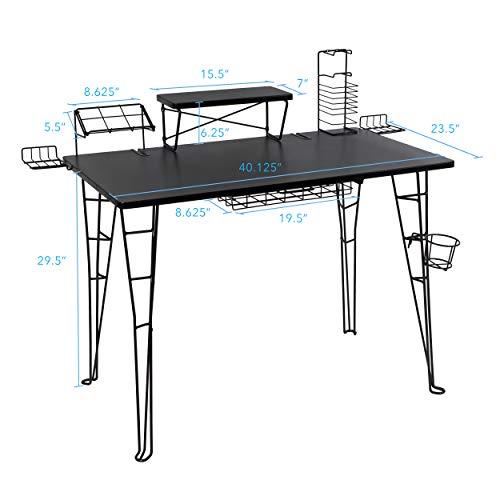 Atlantic Gaming Original Gaming Desk - 32 inch TV Stand, Charging Station, Speaker/5 Game/Controller/Headphone Storage