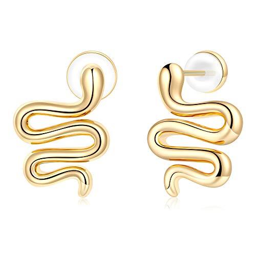 Gold Snake Earrings, Sterling Silver Post Small Snake-shaped Stud Earrings Serpent Earrings Dainty Snake Studs Tragus Earrings Conch Earrings