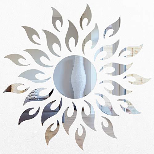 Walplus Spiegel Wandkunst Sun Fire Wandaufkleber Ablösbar Selbstklebend Wandbild Aufkleber Home Dekoration Wohnzimmer Schlafzimmer Büro Dekor Kinderzimmer Silber