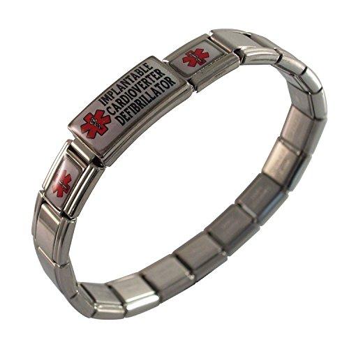 Implantable Cardioverter Defibrillator Medical Alert ID Bracelet for Men or Women Stretchable Adjustable Awareness Stainless Steel