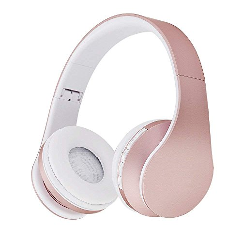 Auriculares Bluetooth Inalambricos de Diadema Cascos Plegables, Bluetooth Over Ear Headphones con Micrófono Micrófono FM TF Tarjeta AUX para PC TV Teléfonos Inteligentes y Tabletas (Rose Gold)