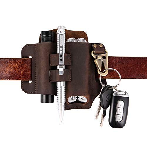 Keypster EDC Leather Sheath for Leatherman multitools,Key holder belt loops leather sheath for flashlight+multitool+knives+pen+tool,Shawsann pocket organizer knife sheath and flashlight holster(Brown)
