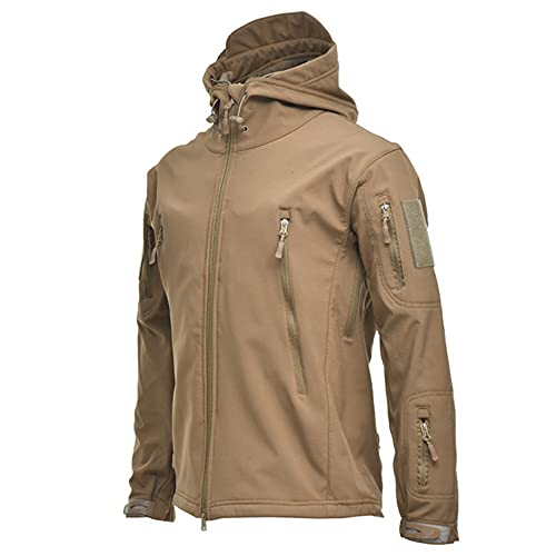 Chaqueta SoftShell impermeable al aire libre Caza cortavientos esquí abrigo senderismo lluvia, caqui, XXL