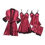 TaFoyu Damen Pyjama Set 4 Stück Set Satin Nachthemd Shorts Schlafanzug Spitze Nachtwäsche Sexy Seiden Nachtkleid Negligee Robe Rot S