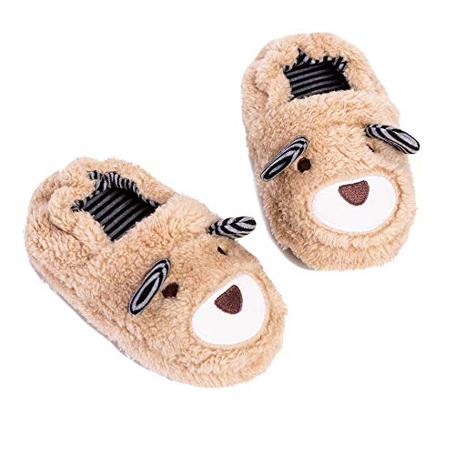Toddler Boys Slippers Cartoon Cute Animals Plush Warm Home Shoes Beige
