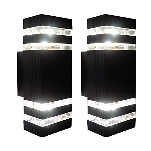 Exterior Up Down Wall Light, Modern Outdoor Porch Light, Wall Sconce Lamp with Matte Black Finish for Patio, Garage, Front Door,E27 Base (2 Pack) (2pack)