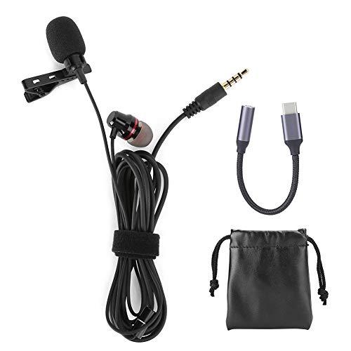 Kragenclip-Mikrofon, 3,5-mm-Tonabnehmermikrofon mit Headset, kabelgebundenes Kragenclip-Mikrofon, starkes Signal, aufsteckbares Ansteckmikrofon mit geringem Rauschen für Live-Sendungen(Schwarz)