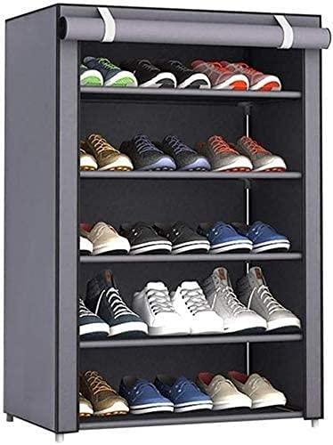 TYSJL 5 Niveles ajustables Zapatos Rack Gabinete Almacenamiento Organizador Estante Soporte con tela Oxford Cubierta a prueba de polvo de hasta 15 pares, 23. 6X11.8X35.4 En el pasillo del estante de z