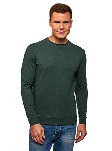 oodji Ultra Homme Sweat-Shirt Basique en Coton, Vert, FR 44 / XS
