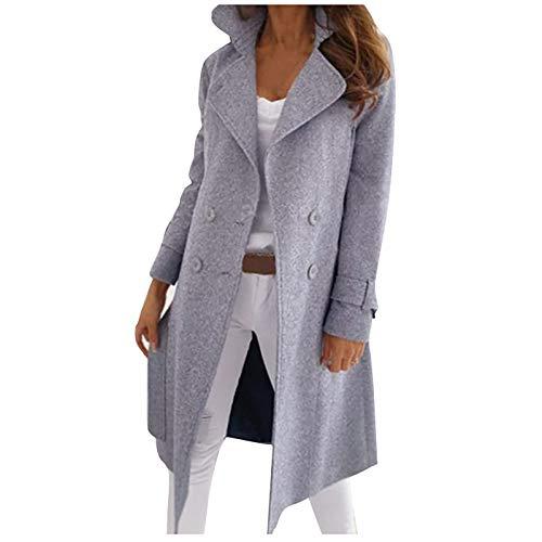 BUKINIE Damen Trenchcoat Strickjacke, doppelreihig, gekerbtes Revers, Midi-Wollmischung, Erbsenmantel, Blazer-Jacken Gr. XL, grau