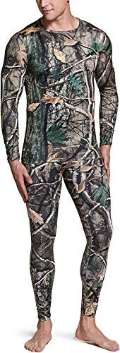 TSLA Men's Thermal Underwear Set, Microfiber Soft Fleece Lined Long Johns, Winter Warm Base Layer Top & Bottom, Thermal Fleece(mhs100) - Hunting Camo, Large