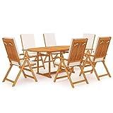 vidaXL Madera Maciza de Teca Comedor de Jardín 7 Piezas con Cojines Muebles Terraza Exterior Hogar Cocina Silla Mesa Asiento Suave con Respaldo