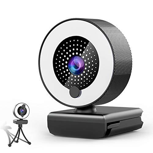 Webcam con Microfono y Luz Anular-MHDYT 2K HD Web CAM con Tapa y Tripode para PC Mac Ordenador Portatil Sobremesa, Cámara Webcam para Ordenador para Youtube, Skype, Zoom, Xbox One y Conferencias