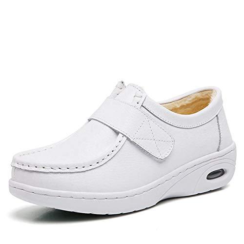 [BYe] ナースシューズ 白 疲れにくい レディース 厚底 スニーカー マジックタイプ ナース靴 シューズ 静音 エアクッション 靴 歩きやすい 白 滑り止め 通勤 通学 マジックテープ 通気性 看護師 ホワイト タイプ1(綿) 23cm