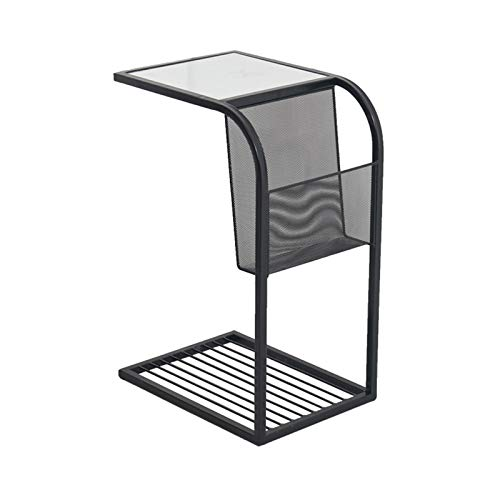 QINGZHUO Mesa Auxiliar,con Soporte de Metal y Escritorio de mármol,Resistente a Altas temperaturas,fácil de Limpiar,Utilizada para mesas de revistas en la Sala de Estar y el Dormitorio.
