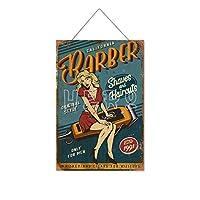 理髪店15木製のリストプラーク木の看板ぶら下げ木製絵画パーソナライズされた広告ヴィンテージウォールサイン装飾ポスターアートサイン