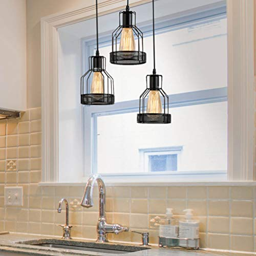 Vintage Lantern Kitchen Light Above Sink, Rustic Black Metal...