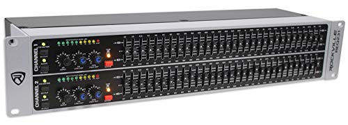 Rockville REQ231 Dual 31 Band 1/3 Octave Graphic Equalizer With Sub-Output, grey