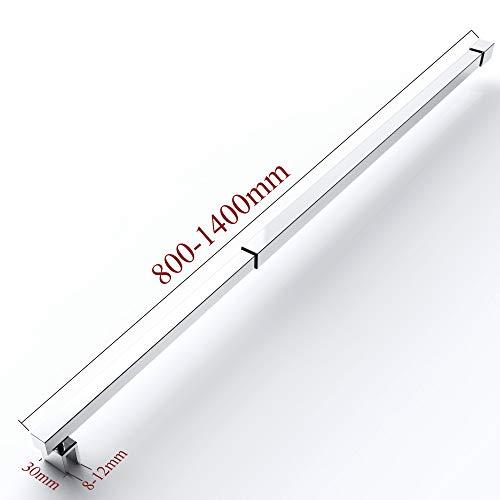 Haltestange für Duschwände 80-140 cm Dusche Halterung Duschabtrennung Quadratisch Haltestange Edelstahl Glasstärken 8-12 mm GS22XL