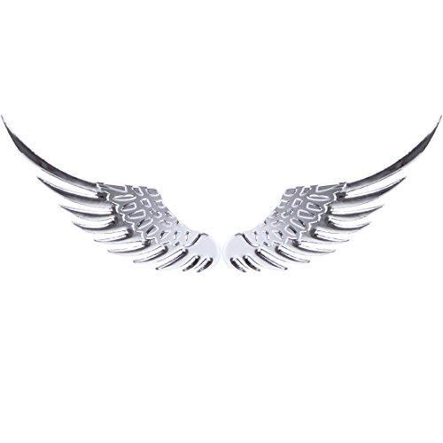 Calcomanías adhesivas corporales Fashion Creative 3D Angel Ala Metal Pegatina Calcomanía Auto Coche Emblema Decoración Decoración (Color: Plata)
