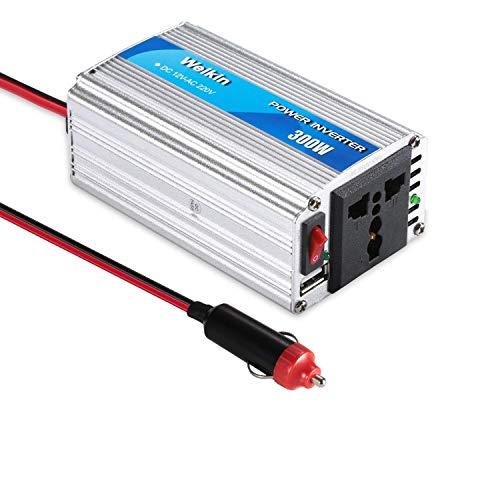 weikin Spannungswandler 300W Wechselrichter DC 12V auf AC 220V Power Inverter Converter, USB-Anschlüsse 5V / 2.1A Aluminiumgehäuse